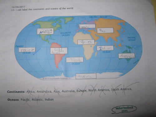 Labeling continents and oceans puffins blog the children were then able to locate and label all seven continents and five oceans independently on a world map gumiabroncs Image collections